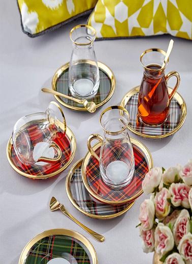 Glore Glore Nihavent Ekose Kırmızı Kulplu 2 Li Çay Seti Renkli